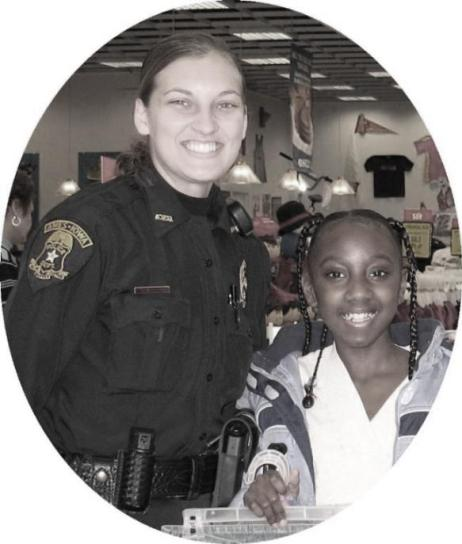 school resource officer and student